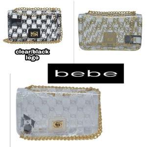 BEBE Cassie Crossbody  Clear logo bag